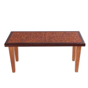Whittiker Colonial Marigold Cedar and Leather Coffee Table with Tray Top