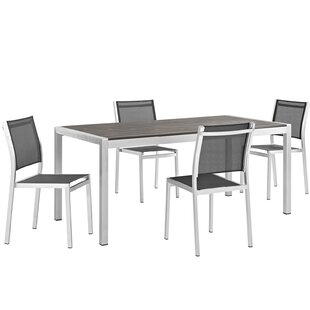 Find for Coline Outdoor Patio Aluminum 5 Piece Dining Set Inexpensive