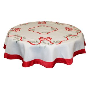 Rager Embroidered Leaves and Bows Tablecloth