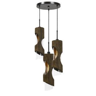 Henderson Wood 3-Light Cluster Pendant by Wrought Studio