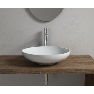 InFurniture Stone Circular Vessel Bathroom Sink