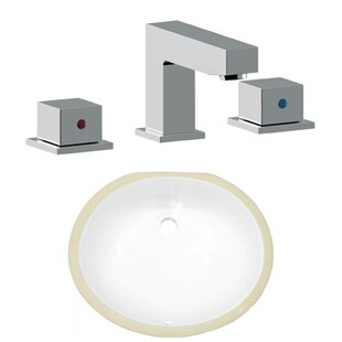 Compare CSA Ceramic Oval Undermount Bathroom Sink with Faucet and Overflow ByAmerican Imaginations