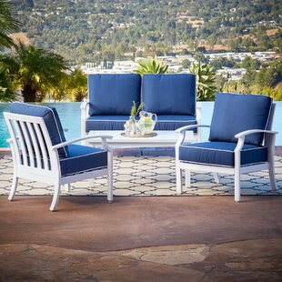 Yandel Bridgeport 4 Piece Sofa Seating Group Set with Cushions by Darby Home Co