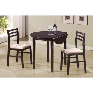Karlov Casual 3 Piece Extendable Breakfast Nook Solid Wood Dining Set