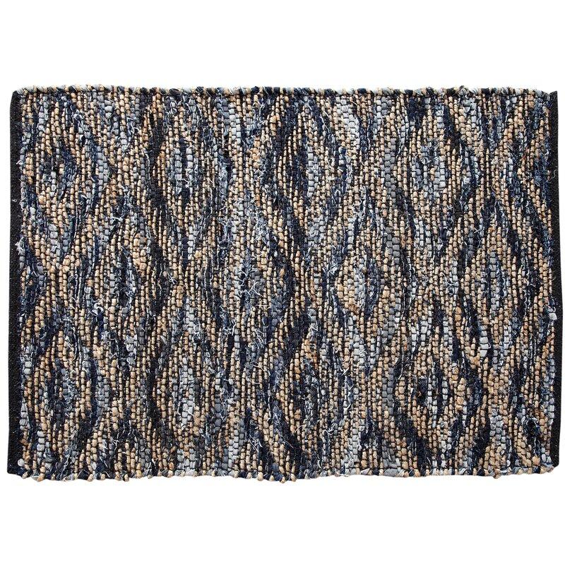 World Menagerie Romeo Geometric Handmade Tufted Jute Sisal Blue Gray Area Rug Wayfair