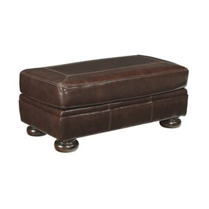 Marcelle Leather Ottoman by 17 Stories