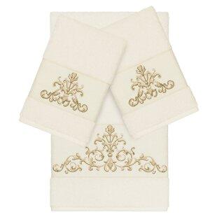 Mcloughlin Embellished 3 Piece Turkish Cotton Towel Set