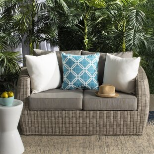 Rosecliff Heights Dawkins Wicker Patio Sofa with Cushions