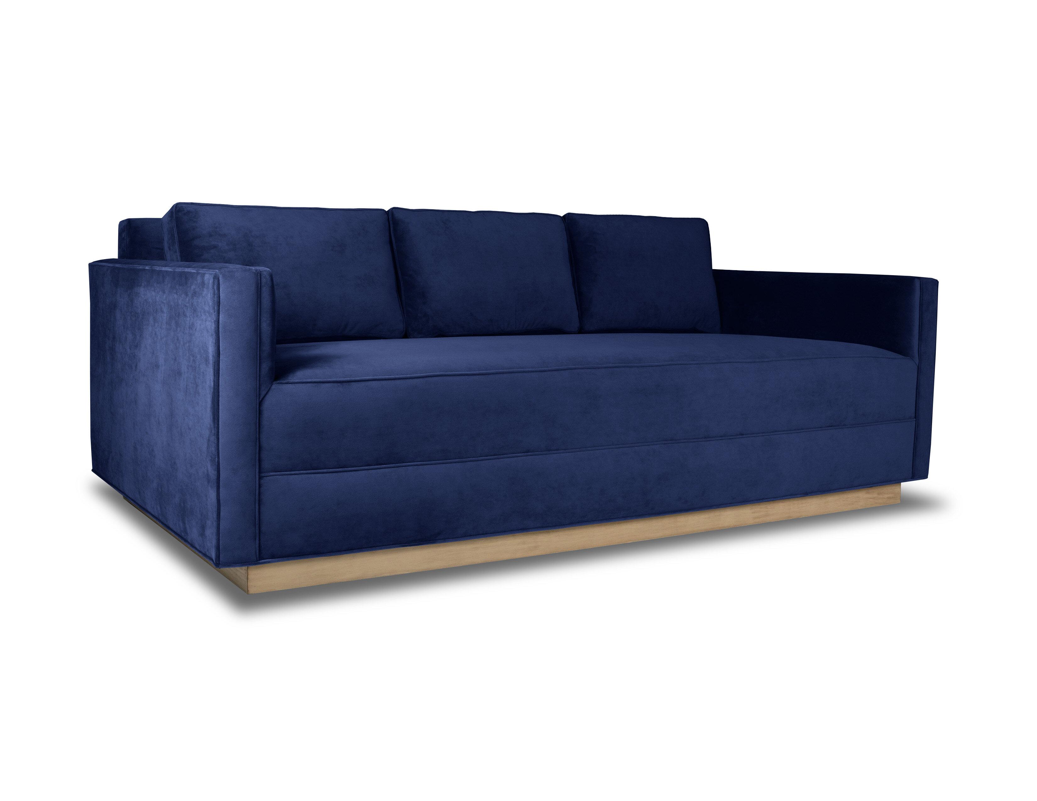 Orren Ellis Picariello Velvet 84 Square Arm Sofa Wayfair