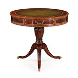 Solid Wood Pedestal End Table with Storage by Jonathan Charles Fine Furniture