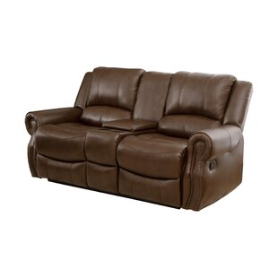 Darby Home Co Baynes Leather Reclining Loveseat