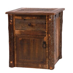 Barnwood End Table With Storage