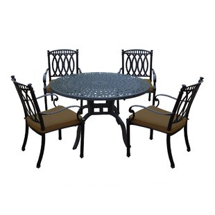 Darby Home Co Otsego 5 Piece Aluminum Dining Set with Cushions