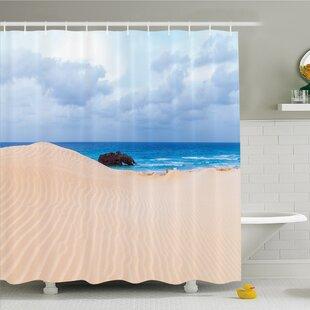 Ocean Boat Crash by Exotic Tropical Beach in African Shore Dream Atlantic Ocean Shower Curtain Set
