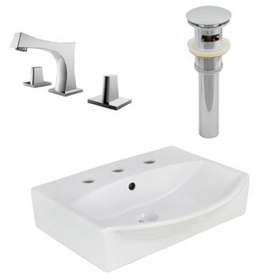 Ceramic 19.5 Wall-Mount Bathroom Sink with Faucet and Overflow By Royal Purple Bath Kitchen