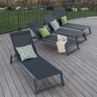 Moshier Outdoor Mesh Double Reclining Chaise Lounge (Set of 4)