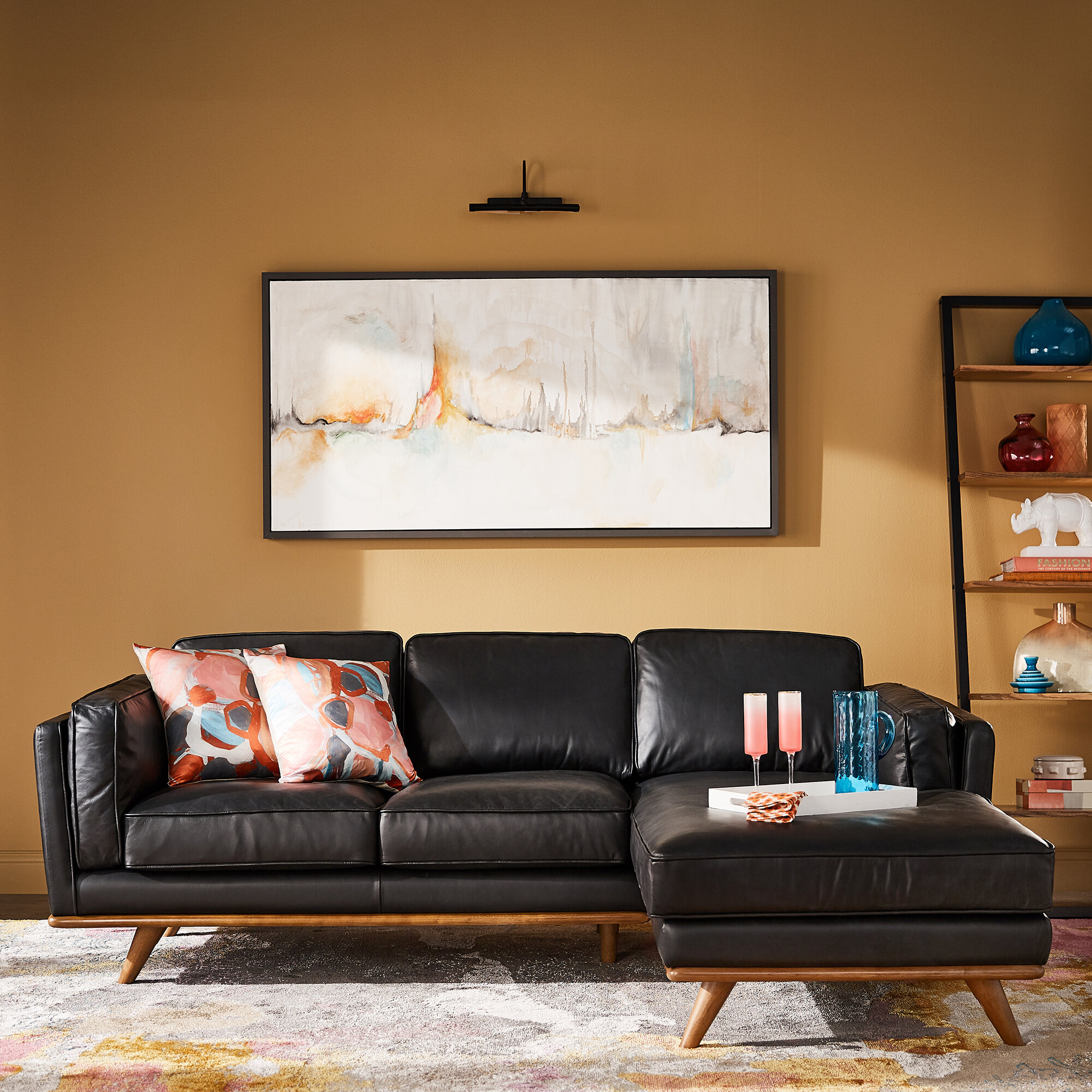 Kingstown Home Ugo 59 Genuine Leather Right Hand Facing Sofa Chaise Wayfair