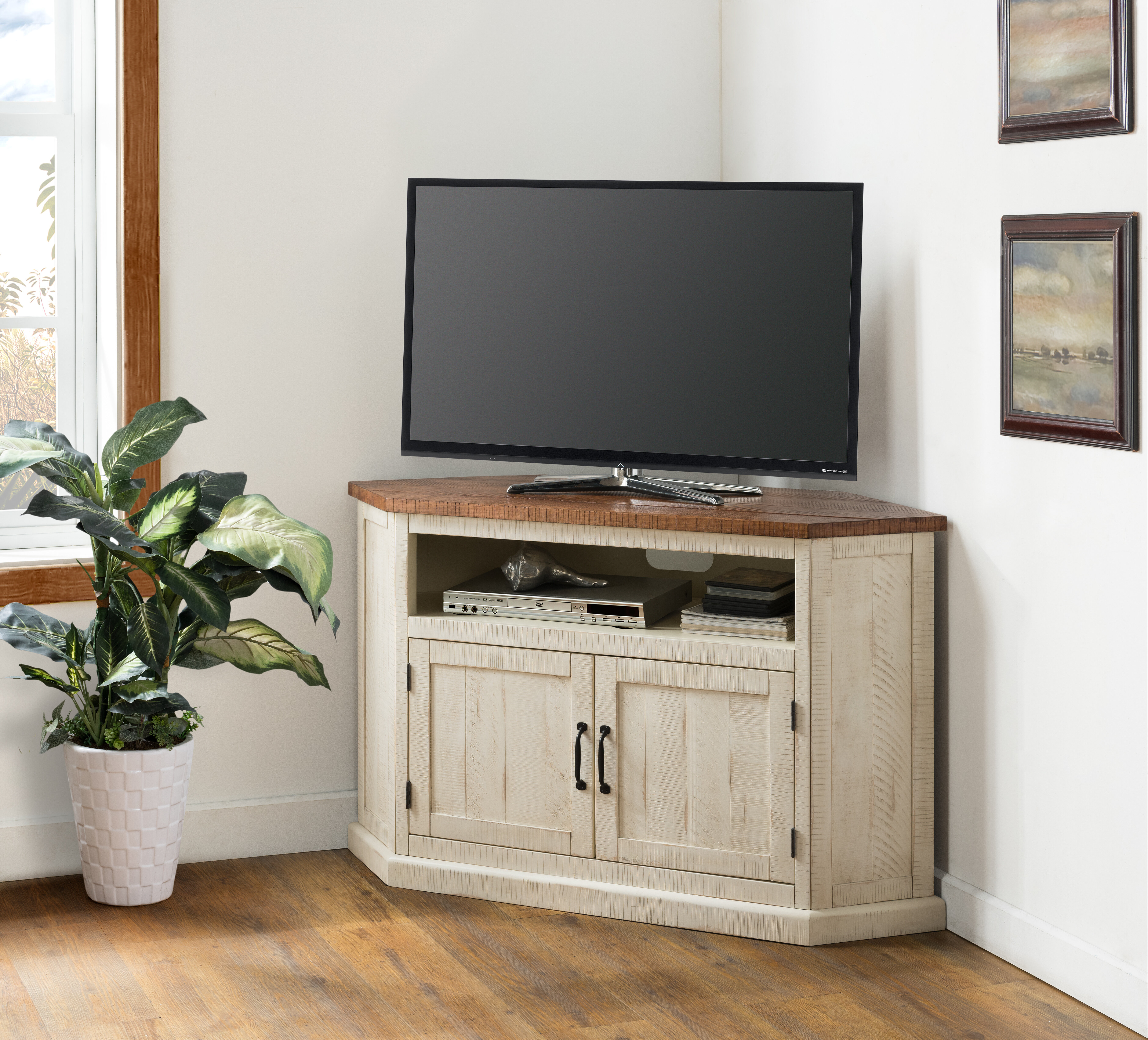 Picture of: August Grove Tacoma Solid Wood Corner Tv Stand For Tvs Up To 60 Reviews