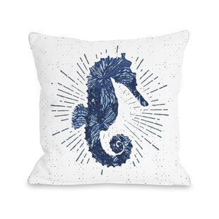 Holmgren Seahorse Bursts Outdoor Throw Pillow