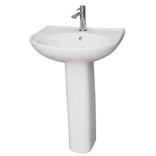 Cynthia Lavatory Vitreous China Pedestal Bathroom Sink with Overflow Barclay