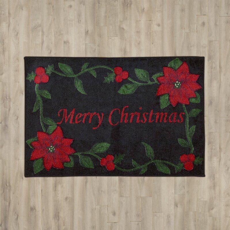 Charlton Home Groveland Merry Christmas Black Area Rug Reviews Wayfair