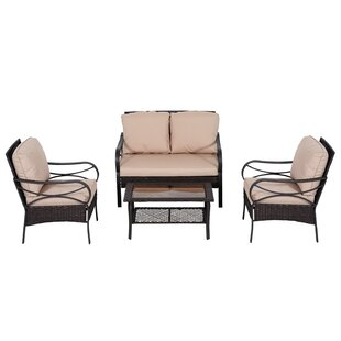 Azaiah 4 Piece Rattan Sofa Set with Cushion