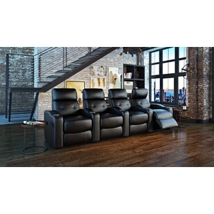 Ebern Designs Power Leather Home Theater Configurable Seating
