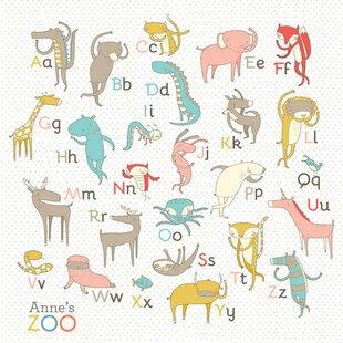 Zoo Alphabet by Nicole LaRue Personalized Canvas Art