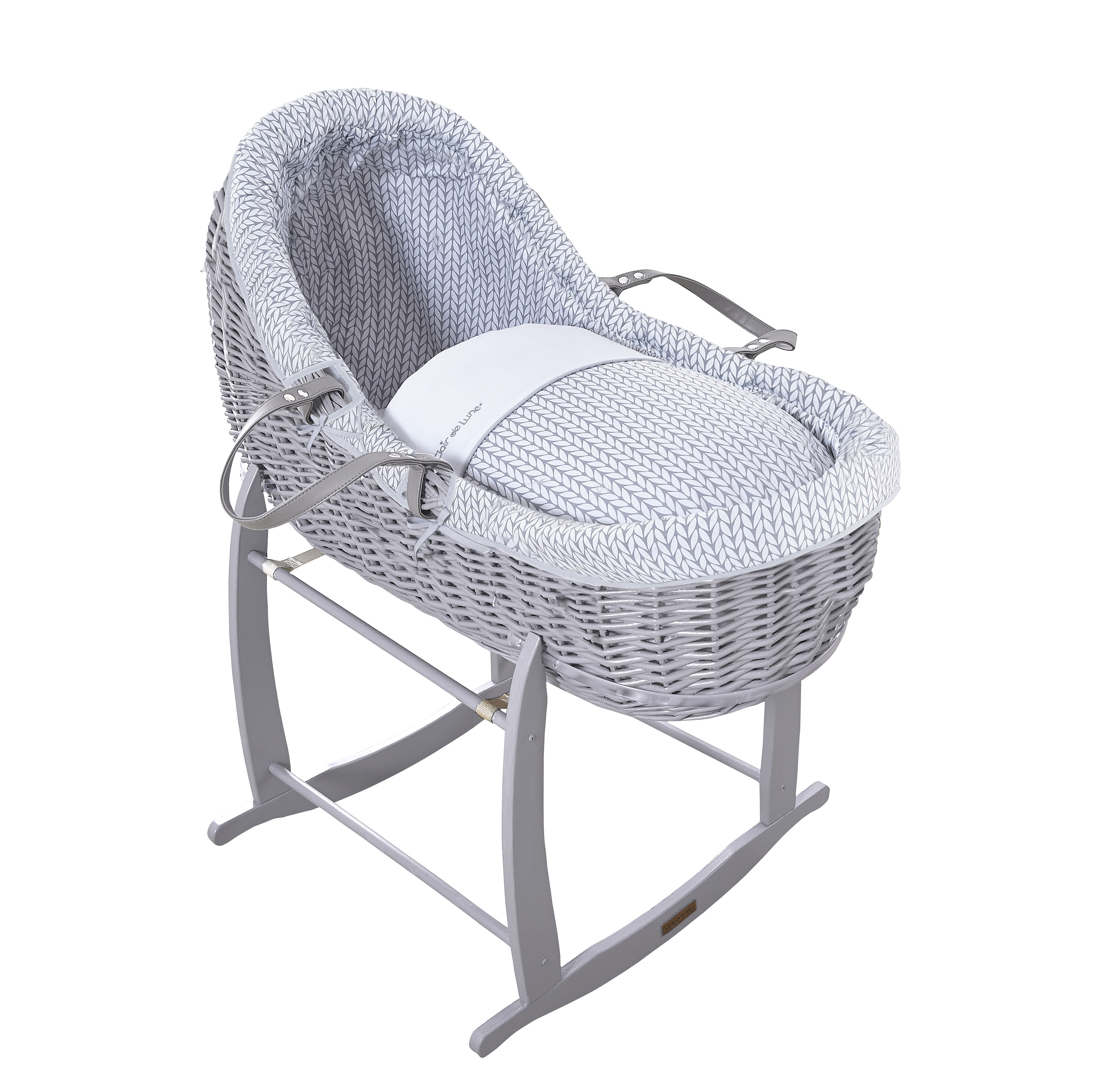 Clair De Lune Deluxe Rocking Moses Basket Stand Year-End Bargain Sale grey