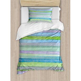 East Urban Home Hand Drawn Style Watercolor Striped Pattern Soft Colors Acrylic Paint Artwork Duvet Set