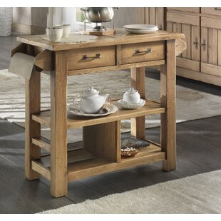 Karval Serving Kitchen Island with Wood Top Loon Peak