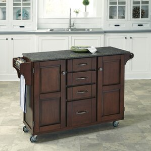 Adelle Kitchen Cart with Quartz Top by August Grove