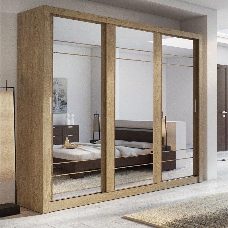 Brayden Studio Toups 3 Door Sliding Wardrobe Amp Reviews