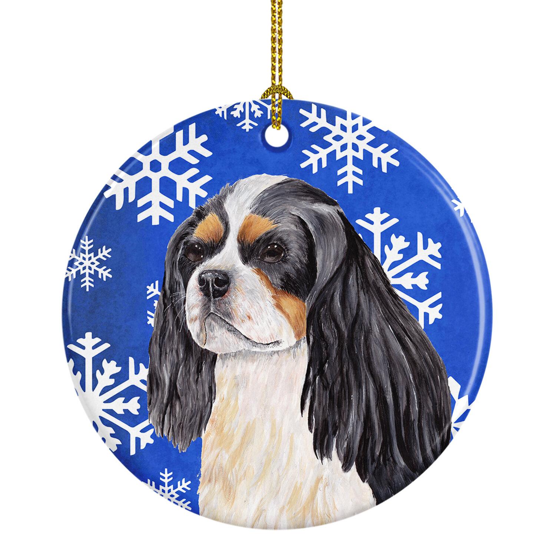 The Holiday Aisle Cavalier Spaniel Winter Snowflakes Holiday Ceramic Hanging Figurine Ornament Wayfair
