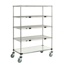 Standard Duty Wire/Solid Exchange and Linen Transport Truck 5 Shelf Shelving Unit by Nexel