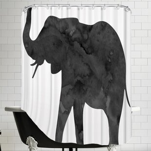 Peach & Gold C Elephant Single Shower Curtain