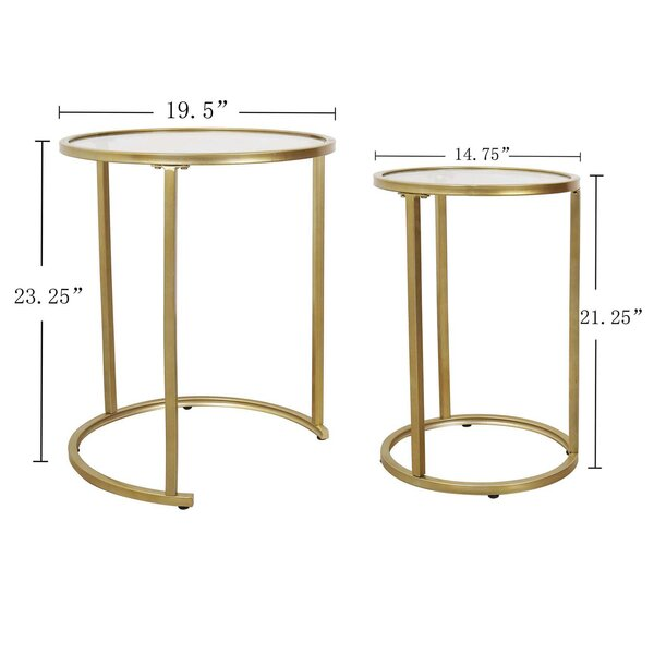 17 Stories Kaelin Glass Top Frame Nesting Tables Reviews Wayfair Ca