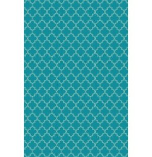 Farris Quatrefoil Design Teal/White Indoor/Outdoor Area Rug