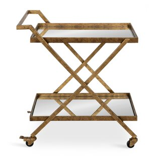 Curran 2-Shelf Metal and Mirror Tray Bar Cart