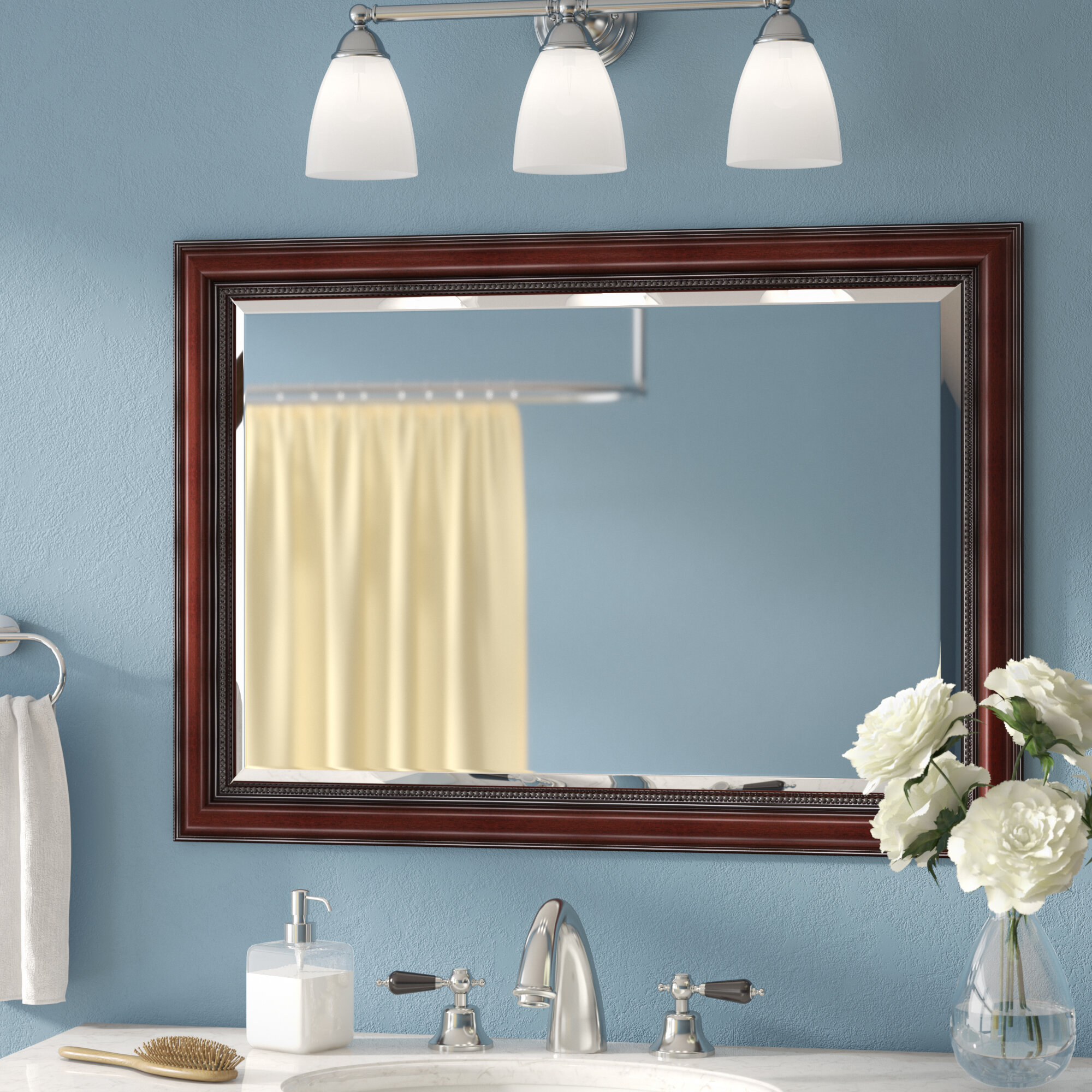 Three Posts Mitchem Traditional Cherry Bathroomvanity Wall Mirror