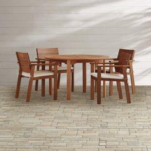 Brighton 5 Piece Eucalyptus Dining Set with Cushions