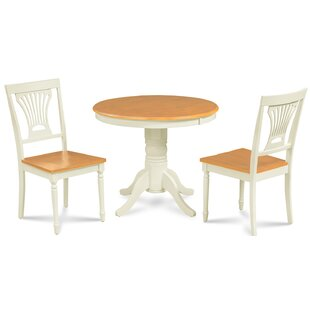 Dahlke 3 Piece Solid Wood Dining Set by August Grove