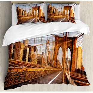 East Urban Home Early Morning on Famous Brooklyn Bridge NYC Architecture Duvet Set