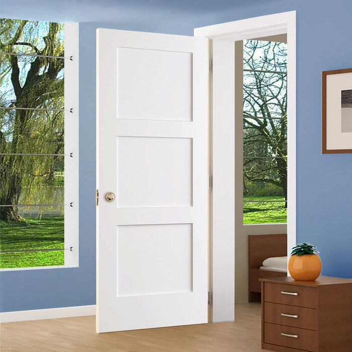 3 Panel Shaker Solid Wood Paneled Slab Interior Door