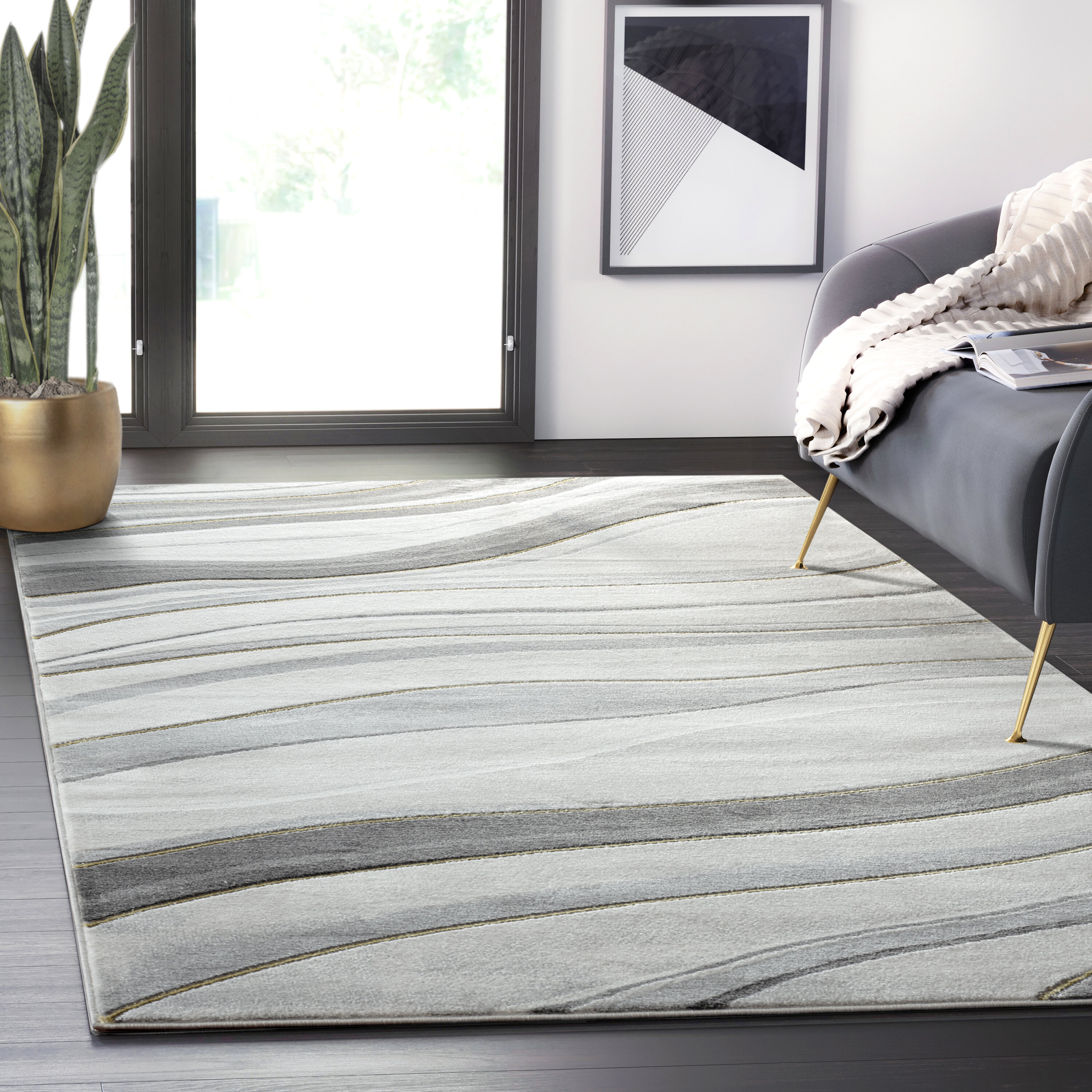 Glam Gray Silver Area Rugs You Ll Love In 2021 Wayfair