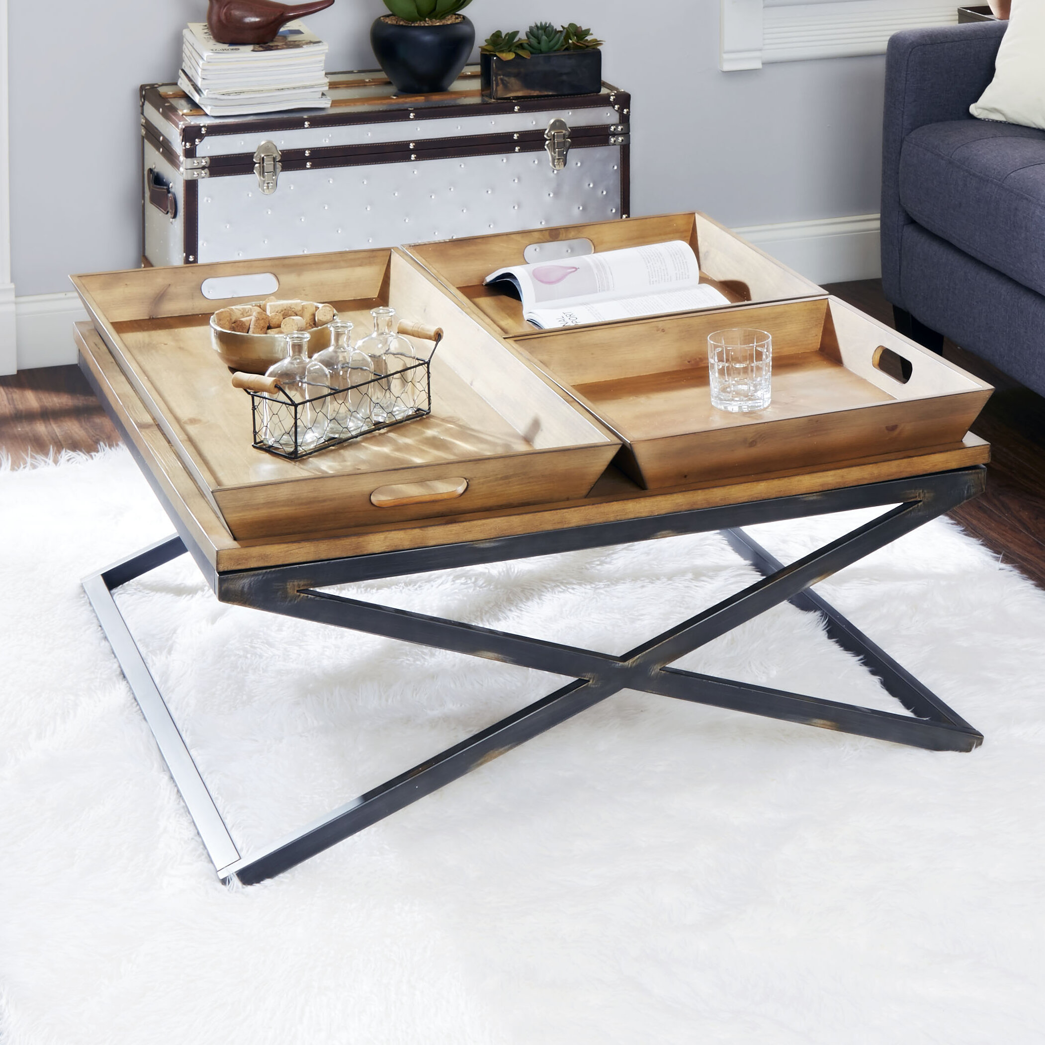 Trent Austin Design Alewife Industrial Coffee Table with Tray Top