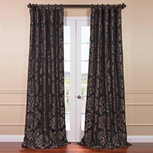 Astoria Damask Faux Silk Jacquard Rod Pocket Single Curtain Panel