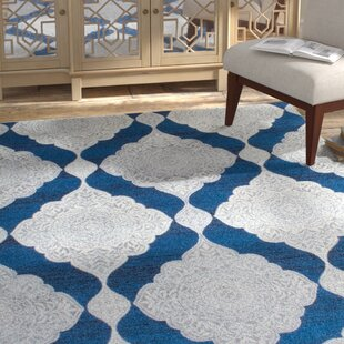 Purchase Farrish White/Denim Blue Area Rug By Bungalow Rose