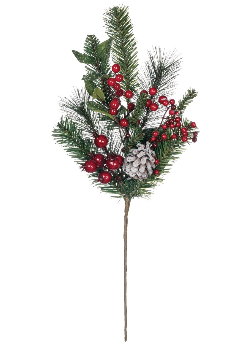 The Holiday Aisle Pine Magnolia With Berries Foliage Plant Wayfair