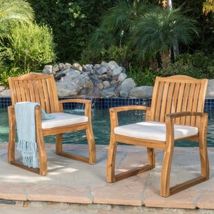 Burcham Patio Dining Chair with Cushion (Set of 2) by Highland Dunes